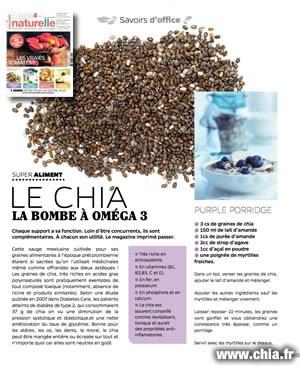 """Le chia en vedette dans le magazine """"Cuisine Naturelle"""""""
